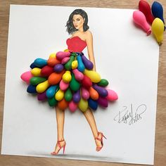 Image discovered by Froylan B LaBorde. Find images and videos about art, dress and design on We Heart It - the app to get lost in what you love. Air Balloon Funny dress made with air balloonsI like this water Bollon dressLikes, 541 Comments - EdImage Fashion Design Drawings, Fashion Sketches, Fashion Illustrations, Arte Fashion, 3d Fashion, Fashion Dresses, Fashion Jewelry, Crafts For Kids, Arts And Crafts