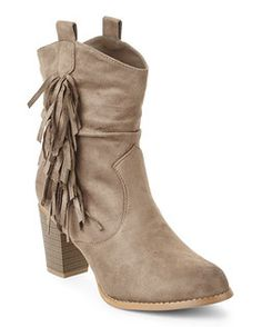 Taupe Memphis Slouchy Fringe Boots
