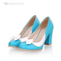 格安ホワイトちょう結びブルークローズドつま先ウェッジヒール女性靴