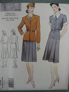 VOGUE-VINTAGE-40s-VAMP-WAR-YEARS-DRESS-JACKET-PATTERN-2196