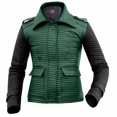 Women Rib Quilted Green Leather Jacket