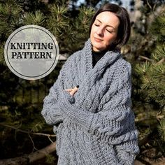 KNITTING PATTERN  Shrug, Wrap Cardigan, Cocoon, Bolero, PDF knitting pattern, women oversize cardigan pattern, knitted shrug, Silver Cocoon