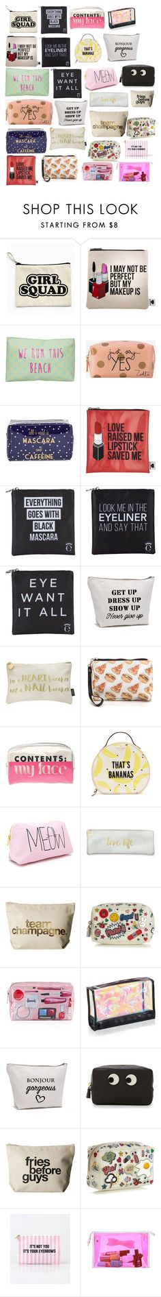 """Cute Makeup Bags"" by terminally-chill ❤ liked on Polyvore featuring Sephora Collection, T-shirt & Jeans, Zoella Beauty, Tri-coastal Design, Eyeko, Nails Inc., Kate Spade, Forever 21, Fringe and Dogeared"