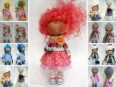 Tilda doll Puppen Baby doll Bambole Art doll Red doll Textile