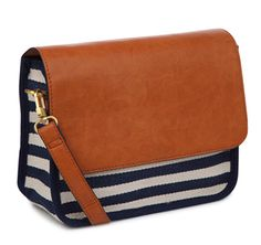 Monoprix striped envelope flap purse, nautical style