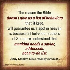Andy Stanley, Since Nobody's Perfect . . .