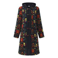 Trendy Women Ethnic Printed Long Sleeve Thicken Plate Buckles Hooded Coats Online - NewChic Mobile.