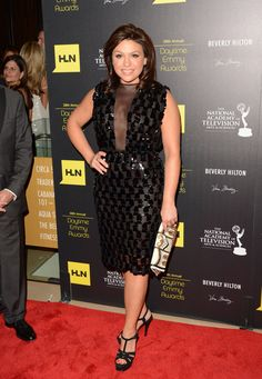 Rachel Ray dresses up her sternum in a fun checkered LBD.