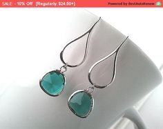 Silver Water Drop Blue Earrings - Simple, Lovely, Bride maid Gift    Earrings  Color = M.Rhodium-plated, Smooth teardrop   Material = Brass  Size = 13mm x 28mm    Drop  1) Color = Emerald, Polished Rhodium Frame  2) Material = Glass, Brass  3) Size = 10.5mm x 14mm      *** If you want to gold plated please leave a note when you check out. ***    All items come wrapped individually in a ribboned gift box.  Thank you for looking.    ♥ ♥ ♥ ♥ ♥ ♥ ♥ ♥ ♥ ♥ ♥ ♥ ♥ ♥ ♥ ♥  Enter my boutique here…
