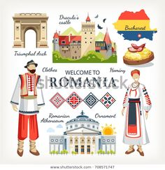 Romania collection of traditional objects symbols of country architecture food clothes , Dracula Castle, Countries And Flags, World Thinking Day, Kids Around The World, Flag Icon, Map Vector, Girl Guides, Central Europe, Pictures Images