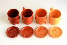 Vintage Tupperware Mugs with Coasters / Lids..whatever happened to Tupperware anyways..