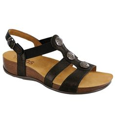 This chic, stylish sandal has the benefits of a supportive ankle strap, with the slip-on ease of an elastic strap across the top of the foot. Premium burnished metal accents adorn a curved leather strap shown down the front. Comfortable Dress Sandals, Stylish Sandals, T Strap Sandals, Ankle Strap, Women's Sandals, Custom Made Shoes, How To Make Shoes, Buy Shoes, Leather Sandals