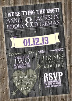Rustic Wedding Invite (other colors by request) @Jennie C. C. Pence  theres 4 new ones up