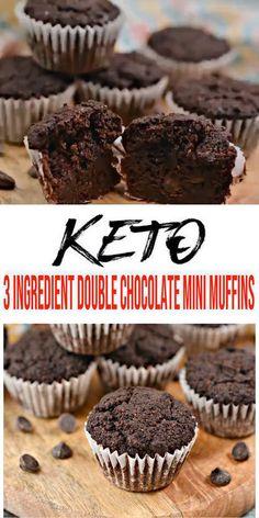 3 Ingredient Keto Mini Muffins – BEST Double Chocolate Mini Muffins – {Easy} NO Sugar Low Carb Recipe – Beginner Keto Friendly – Breakfast – Snacks – Desserts – ketogenic diet recipes Choc Muffins, Healthy Chocolate Muffins, Mini Muffins, Chocolate Muffin Recipes, Keto Desserts, Easy Desserts, Keto Snacks, Quick Keto Breakfast, Breakfast Snacks