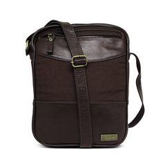 fa1a5ca01 Shoulder Bag - Bolsa Transversal de Couro e Lona Sam - Marrom Café | Por  Nanda Soares