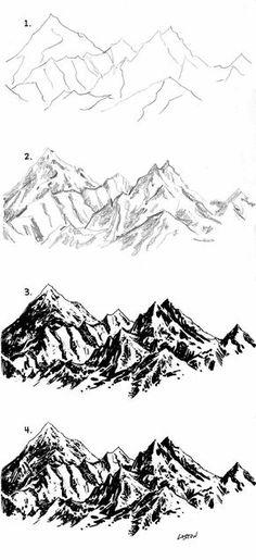 Drawing Tips mountain drawing Drawing Tips, Drawing Sketches, Painting & Drawing, Art Drawings, Sketching, Drawing Rocks, Drawing Ideas, Drawing Drawing, Nature Drawing