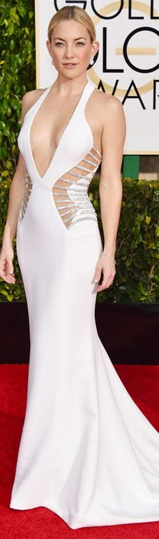 Kate Hudson's jewelry, white cut out gown, shoes, and purse that she wore to the 2015 Golden Globes red carpet style