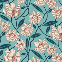Flower Pattern Design, Surface Pattern Design, Pattern Art, Flower Patterns, Abstract Pattern, Flower Illustration Pattern, Illustration Blume, Motifs Textiles, Textile Patterns