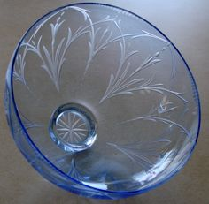 Hand engraved  Blue Glass Bowl by Catherine Miller of Catherine Miller Designs *Technique-Stone wheel * Pilgrim Glass