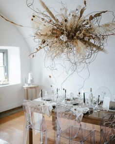 Reception Decor, Fine Art, Modern and Minimalistic wedding hanging floral display Dried Flower Arrangements, Dried Flowers, Floral Centerpieces, Bohemian Wedding Decorations, Reception Decorations, Floral Wedding, Wedding Flowers, Casual Wedding, Wedding Reception