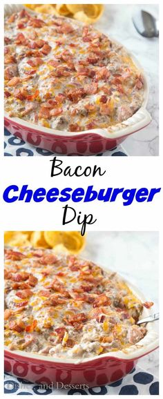 Bacon Cheeseburger Dip – all the flavor of your favorite bacon cheeseburger in. Bacon Cheeseburger Dip – all the flavor of your favorite bacon cheeseburger in an ooey, gooey, cheesy, dip. Great for game day, entertaining or just because! Bacon Cheeseburger Dip, Bacon Dip, Bacon Recipes, Burger Recipes, Cooking Recipes, Easy Dip Recipes, Game Recipes, Lunches, Dressings