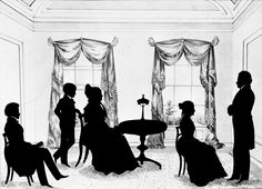 "Augustin-Amant-Constant-Fidèle Edouart (1789–1861), ""Chancellor James Kent and Family,"" undated. Silhouette figures on background sketched in in light wash, on cream paper,14 x 19 in. Photographed in a private collection in Orleans, Massachusetts. The Frick Collection / Frick Art Reference Library Photoarchive. #silhouettes #fricklibrary"