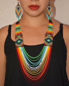 A personal favorite from my Etsy shop https://www.etsy.com/listing/471583524/beaded-long-huichol-necklace-native