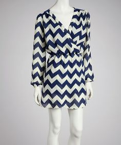 Take a look at this Navy Zigzag Surplice Dress by Reborn Collection on #zulily today!