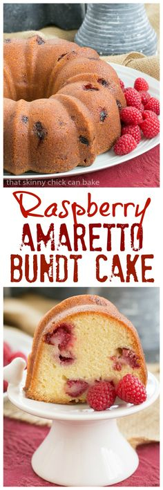 Raspberry Amaretto Bundt Cake | Pound cake full of fresh raspberries and flavored with extracts and liqueur @lizzydo