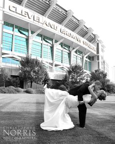Our bride & groom at Cleveland Browns Stadium.  Wedding photography by Christopher Norris Photographers, Cleveland