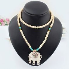 $4.98 Ethnic Style Elephant Pendant Women's Sweater Chain Necklace