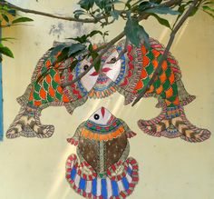 Madhubani painting by school children on the wall of a school in Madhubani, Bihar, India