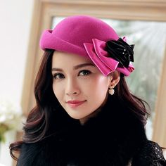 Autumn bow flower beret hat for women winter wool hats