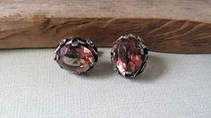 Vintage amethyst earrings sterling silver earrings Mexico Silver screw back…