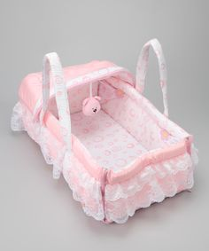 Look at this #zulilyfind! Stephan Baby Pink Lace Moses Basket by Stephan Baby #zulilyfinds