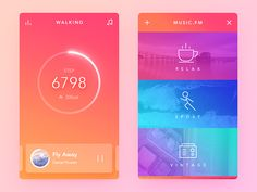 Daily UI #65  It's the walking mode.  When I'm on the walking mode, I could view real-time, open the music mode, and choose a style of music radio. I could change song to next or previous, pause, e...