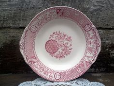"""Antique CAKE PLATE, Satsuma, BGW, Shallow Bowl, Aesthetic Movement, Red Transferware, 1800s, 10"""", Birds, Dove, Flowers, Embossed Handles by CottonCreekCottage on Etsy"""