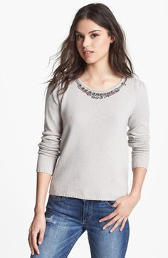 Hinge® Jewel Embellished Sweater available at #Nordstrom