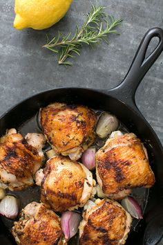 Skillet Lemon Rosemary Chicken from @simplyrecipes