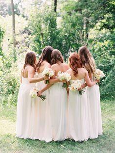 Monique Lhuillier bridesmaids dresses |  Elegant Ontario Lakeside Wedding - http://www.stylemepretty.com/2015/04/28/elegant-colorful-lakeside-wedding/
