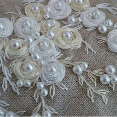 Awesome Most Popular Embroidery Patterns Ideas. Most Popular Embroidery Patterns Ideas. Hand Embroidery Stitches, Silk Ribbon Embroidery, White Embroidery, Hand Embroidery Designs, Embroidery Techniques, Embroidery Machines, Couture Embroidery, Embroidery Jewelry, Fabric Flowers