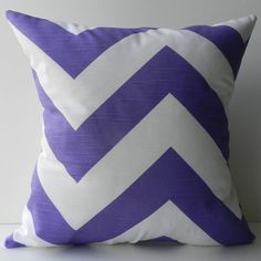 New 18x18 inch Designer Handmade Pillow Case in purple chevron pattern