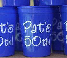 Personalized Plastic Cups for men's 50th birthday party- Two Funny Girls