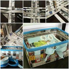 DIY tejer una cesta del almacenaje simple de periódico viejo