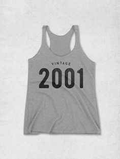 This ultra-soft, racerback tank top features the 'VINTAGE 2001' graphic printed on the front. The perfect 16th birthday gift idea for girls!