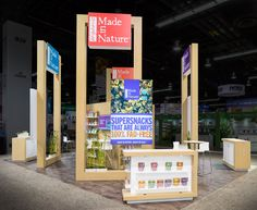 Made in Nature called on Condit to expand their exhibiting presence at the 2016 Natural Products Expo West show. This 20x20 custom booth features lightbox headers and reception graphics to display each of their unique product offerings.