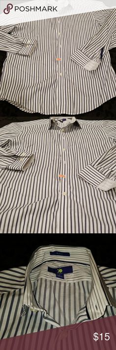 Egara button up shirt Slim fit white and blue strip shirt in good condition only worn a few times. Egara Shirts Casual Button Down Shirts