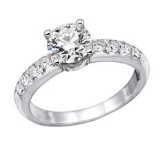 14K White Gold Brilliant Round Cut Diamond Engagement Ring (0.90 cttw, J-K Color, I1-I2 Clarity) - Size 4.5