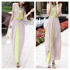 Chiffon color block maxi dress Brand new. Soft chiffon material. Partially lined (skirt part). Layered semi sheer chiffon. Ankle length. Back enclosed zipper. High waist line. Dresses Maxi