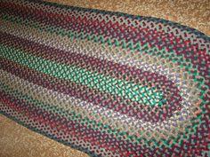 "Vintage Hand Braided Laced Wool Oval Area Rug Runner 31"" x 81"" Multi Tone | eBay"